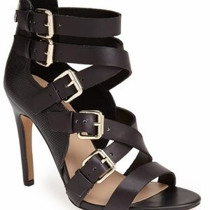 Sole society Black buckle strap high heel sandal